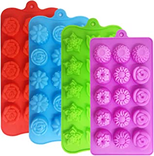 4 PACK Flower Shape Chocolate Candy Molds Set,DanziX Silicone 15 Cavity Baking Mold Ice Cube Tray for Wedding,Festival,Par...