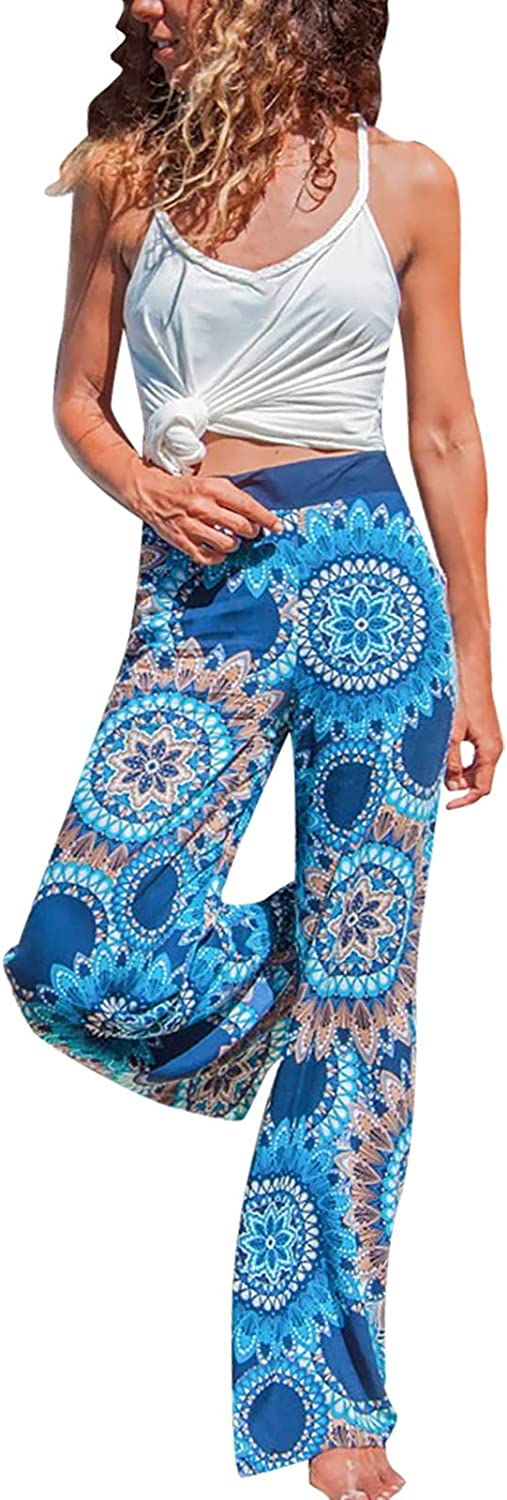 Euone_Clothes Women Pants for Work Plus Size, Women's Fashion Loose Digital Print Pants Soft and Smooth Wide Leg Trousers