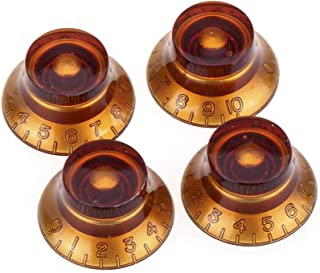 Musiclily Pro Imperial Inch Size Top Hat Bell Knobs for USA Made Gibson Les Paul SG Electric Guitar, Amber (Set of 4)