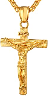 Men Crucifix Cross Pendant with Chain Baptism Christian Jewelry Stainless Steel/18K Gold/Rose Gold Jesus Necklace, Free Engraving & Send Gift Box