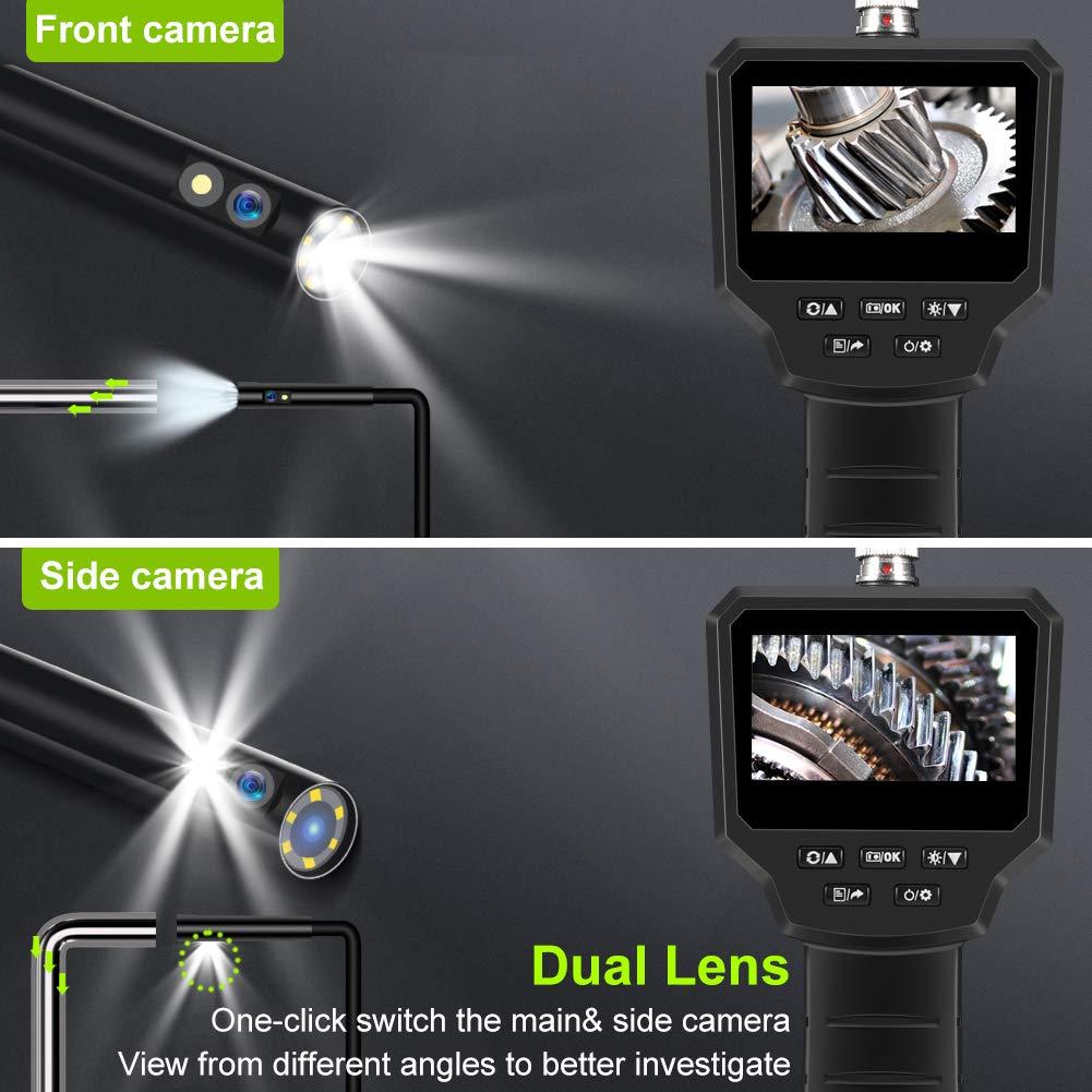 VOLADOR Industrie Endoskop Eingebaute 1800-mAh-Akku Endoskopkamera 5M, Zwei Linsen-8mm 3,0 Zoll 3,0 Megapixel 1080P HD IPS LCD Digitale Inspektionskamera IP67 Wasserdichtes 6-LED Video Boreskope