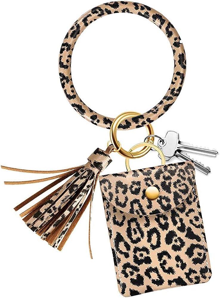 Behaniu Womens Circle Wristlet Bracelet Bangle Keychain Leather Wallet with Car Keyring Card Holder for Women