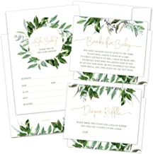 Set of 25 Greenery Baby Shower Invitations, Diaper Raffle Tickets, Baby Shower Book Request Cards with Envelopes | Jungle ...