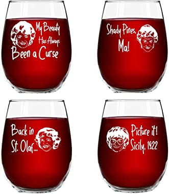 Golden Girls Inspired Stemless Wine Glass Set of 4 (15 oz)- Funny Novelty Glasses for Party, Event, Girls Night- Unique Birth
