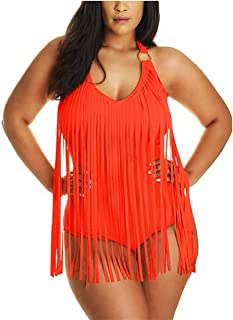 JIANLANPTT Pretty Padded One Piece Fringed Swimsuit Swimwear Monokini