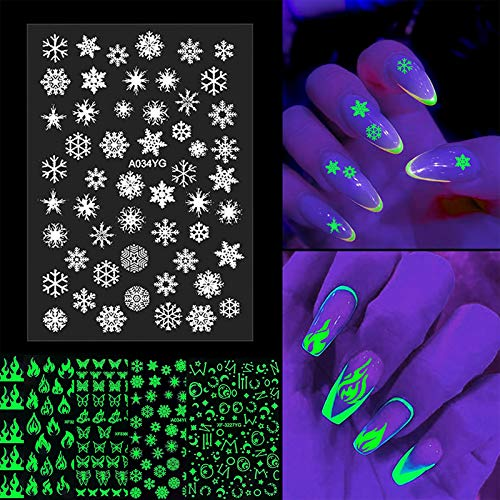 MiaoWu 5 Sheets Luminous Nail Art Stickers Decals 3D Nail Stickers Fluorescent Glow in The Dark Nail Art Design Butterfly Christmas Nail Decals Stickers Self Adhesive for Xmas Party Favor Supplies