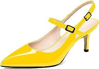 """elashe Escarpins Pointus Femme Sexy - 2.6"""" Talon Haut Aiguille -Slingback Sandales - Chaussures de Grande Taille"""
