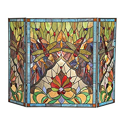 """RADIANCE goods Tiffany-Glass 3pcs Folding Dragonfly Fireplace Screen 44"""" Wide from RADIANCE goods"""