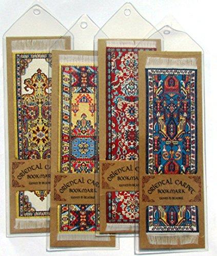 Oriental tappeto segnalibri–Autentico tappeto tessuto (set da 4) design assortiti