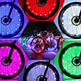 DAWAY Led Bike Tire Lights - A01 Fun Bicycle Spoke or Frame Safety String Lights (2 Tire Pack), Light Up Wheel for Teen, Children, Dad, Brother, Uncle, Best Wheelchair Accessory, Blue