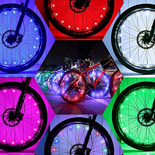 DAWAY Waterproof Bike Spoke Lights - A01 Bright Led Bicycle Light (2 Tire Pack), Safety Wheel Lights, Popular Kids Gift, Cool Birthday Burning Man, Green