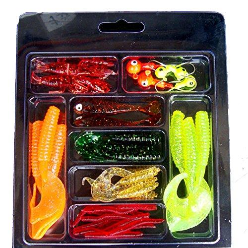 HoSayLike señuelos Pesca mar cebos Artificiales señuelos Artificiales 33Pcs Soft Worm Lure Lure Set Head Jig Hooks Cebo de Pesca Set Tackle Cebos y Aromas