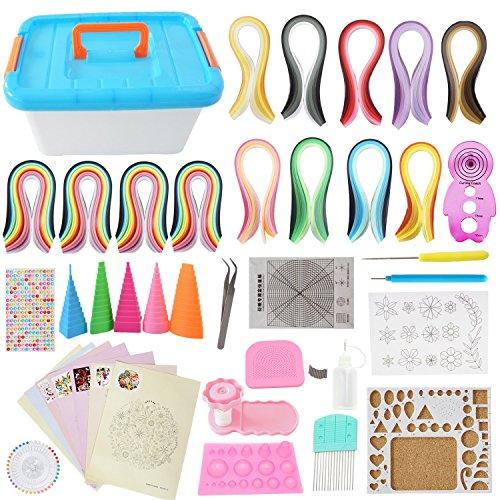 Kit complet tout-en-un pour quilling avec 1 980 bandes + outils nécessaires + boîte de rangement pour débutants, experts, enfants et adultes