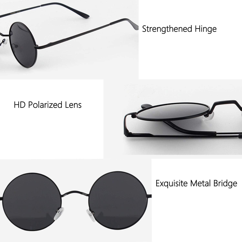 DUDUKING Occhiali da Sole Retro Uomo e Donna Lennon Rotondi Polarizzati in Metallo con Protezione UV400