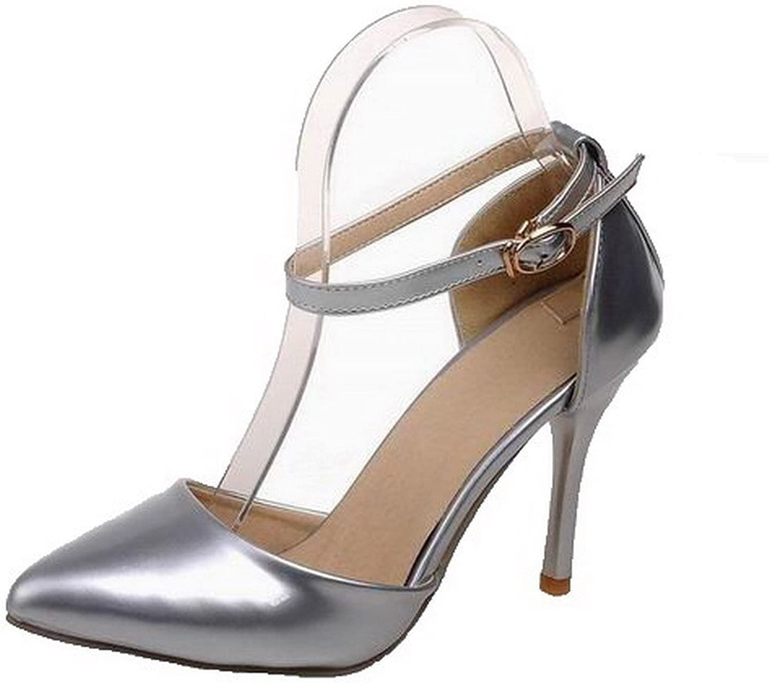 AllhqFashion Women's Buckle Patent Leather High-Heels Solid Sandals, FBULD014151