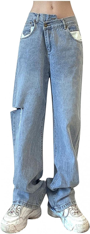 Y2K Fashion Jeans,Women Y2K High Waist Jeans Irregular Straight Leg Streetwear Jeans Casual Baggy Denim Pants with Holes