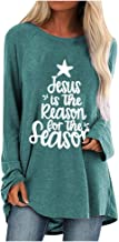 2019 Christmas Women Costume Tshirt Elk Print Crew Neck Sweatshirts Long Sleeve Blouses Plus Size Loose Tunic Tops