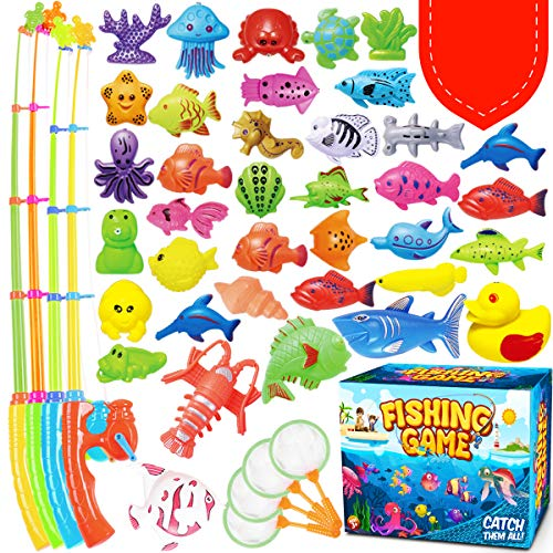 GoodyKing Magnetic Fishing Game Pool Toys for Kids - Magnetic Fishing Toy for Toddlers Bath-tub Outdoor Indoor Carnival Party Water Table, Poles Nets Fishes for Kids Age 3 4 5 6 Years Old Gift Summer