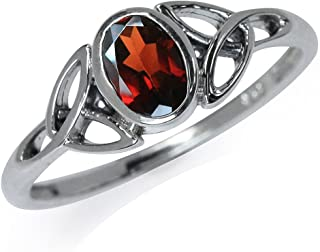 Silvershake Natural Garnet White Gold Plated 925 Sterling Silver Triquetra Celtic Knot Ring