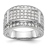 14k White Gold Diamond Mens Wedding Ring Band Size 10.00 Man Bridal Fine Jewellery For Dad Mens Gifts For Him