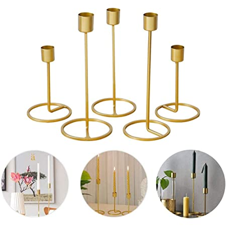 Home Decor Anniversary Festival DSDecor Metal Geometric Candle Holder with Glass Shade Modern Minimalist Candle Holder Pillar and Tealights Candle Holder for Wedding Ceremony Gold, Style 1