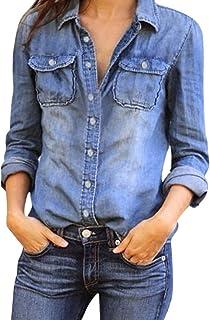 bd614f12a7 Realdo Women Fashion Casual Jean Denim Long Sleeve Shirt Tops Blouse Jacket