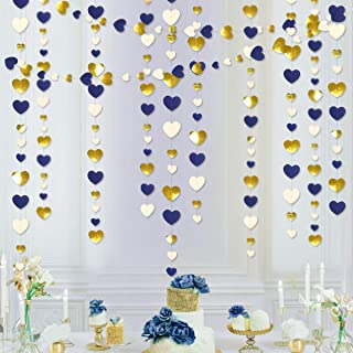 52 Ft Navy Blue Beige Gold Love Heart Garland Hanging Paper Streamer Banner for Anniversary Mother's Day Bachelorette Enga...