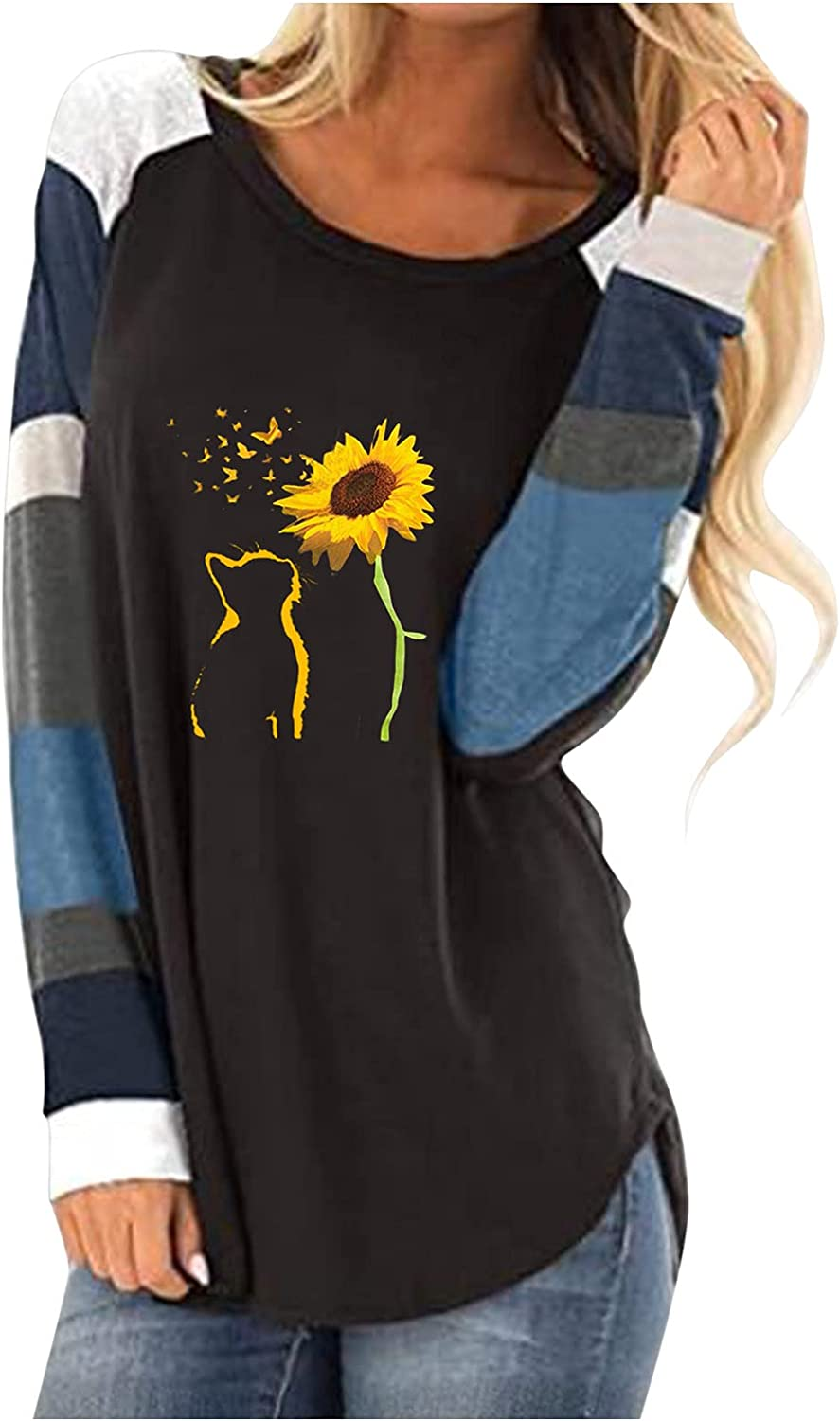 UOCUFY Women Tops Long Sleeve, Womens Casual Long Sleeve Crewneck Sweatshirts Cute Graphic Pullover Tops and Blouses