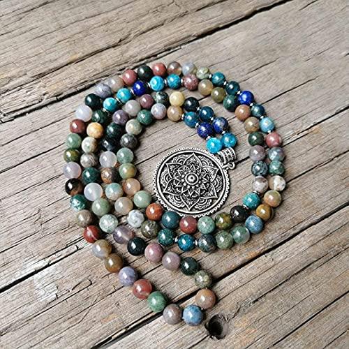 Pulsera Feng Shui Bead 8 mm ágata indio Amaranto Fosfato Agro-Stone Marla Collar con Encanto Lotus Colgante Joyería meditativa Neutral Marla Yoga Regalo 108 Marla Beads Pulsera de abalorios de amuleto