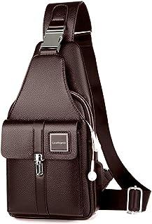 Leathario Brusttasche Herren Leder Crossbag Wasserdicht Sling Rucksack Sling Bag Echtleder Schulterrucksack Schulltlertasche Crossbody Bag Tragtasche für Arbeit Freizeit Kaffee