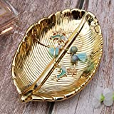 BESPORTBLE Deko Tablett Keramik Servierteller Gold Blatt Serviertablett Dekoschale Schmuckständer dekoteller Schmuckhalter Schale Organizer Tablett für Lebensmittel Schmuck Kosmetik Wohnzimmer Deko - 6