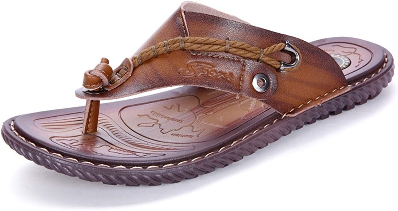 Mens Sandals, Men's PU Leather Thong Flip Flops shoes Casual Beach Slippers Non-Slip Soft Flat Sandals. (color   Khaki, Size   7.5MUS)