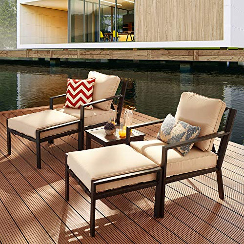 LOKATSE HOME 5Piece Outdoor Conversation Set Patio Furniture Sofa Club Chairs with Ottomans and Coffee Side Table Beige Cushions