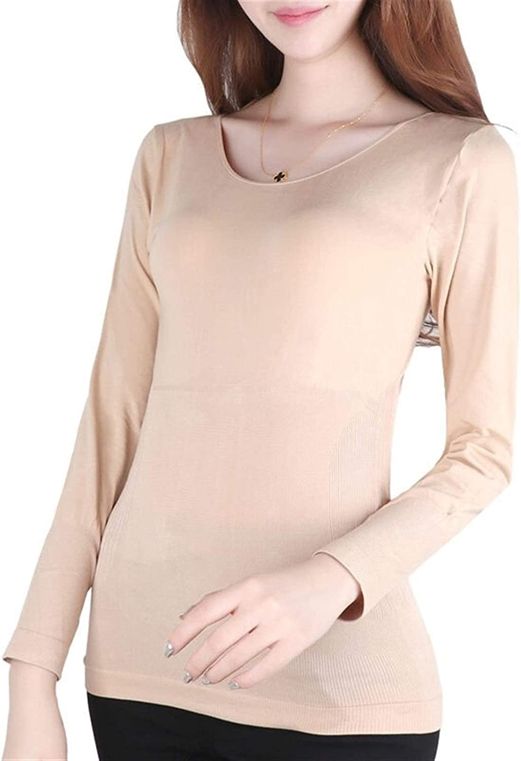 QWERBAM Abdomen Tunic Sleeved Thermal Underwear Slimming Clothes Postpartum Low Warm T-Shirt Lady Spring Winter Corset Women (Color : Blue, Size : One Size)