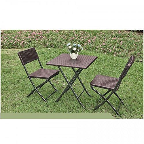 PRATIKO LIFE Caffe - Juego de Mesa y 2 sillas Plegables de polirratán