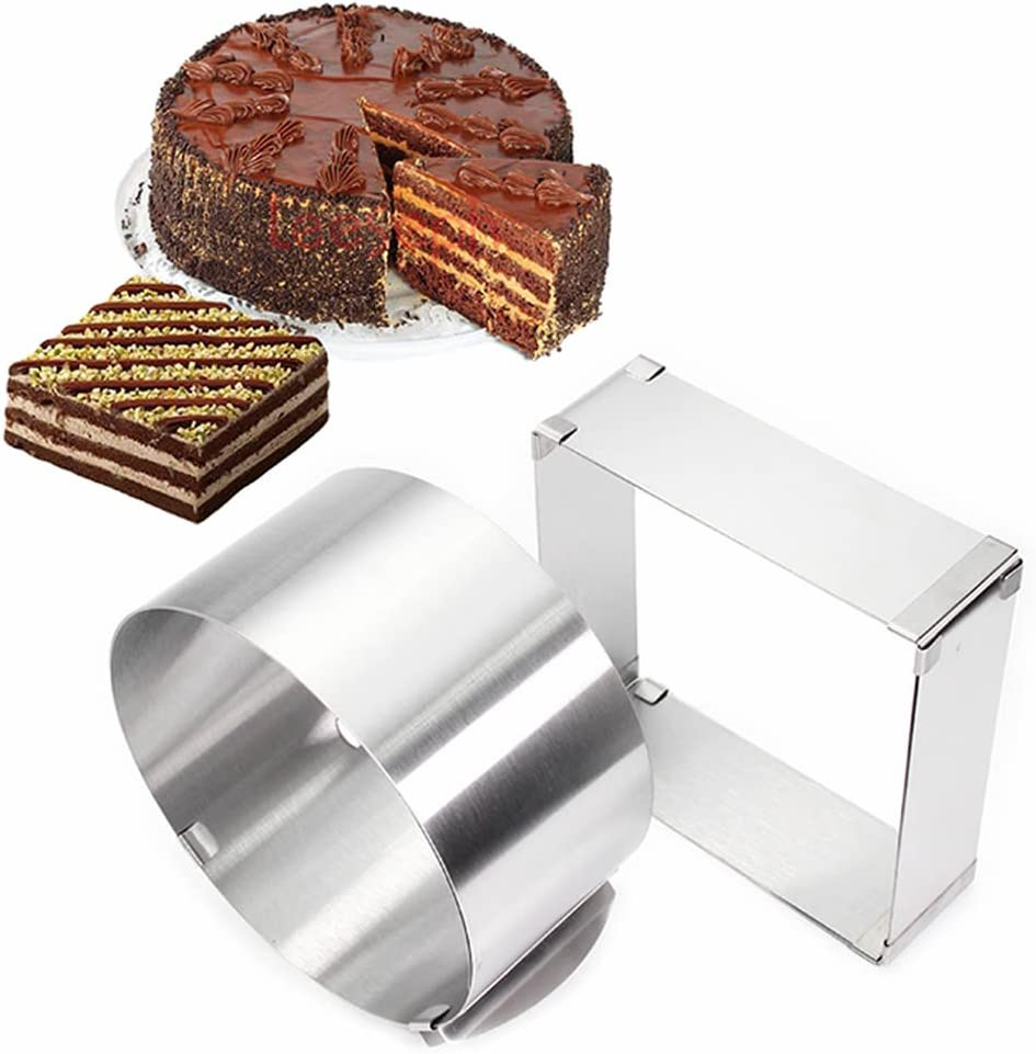 ORYOUGO Max 80% OFF Set of 2 Atlanta Mall Stainless Steel Mou Round and Square Adjustable
