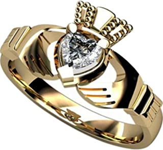 Stainless Steel Simulated Diamond Claddagh Ring (Gold 10)