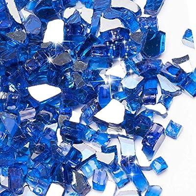 SHINESTAR 30 Pounds Fire Pit Glass, 1/2 inch Cobalt Blue Reflective Fire Glass for Propane Fire Pit, Gas Fireplace, Decorative Fire Pit Glass Pellets