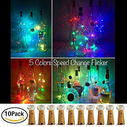 【10 Stück】SiFar 20 LEDs 2M Flaschen-Licht Multicolor, Lichtstreifen-Korken-Flaschenverschluss, Flaschengirlanden-Korkenlampen, batteriebetriebene Sternenlichter für Heim, Garten