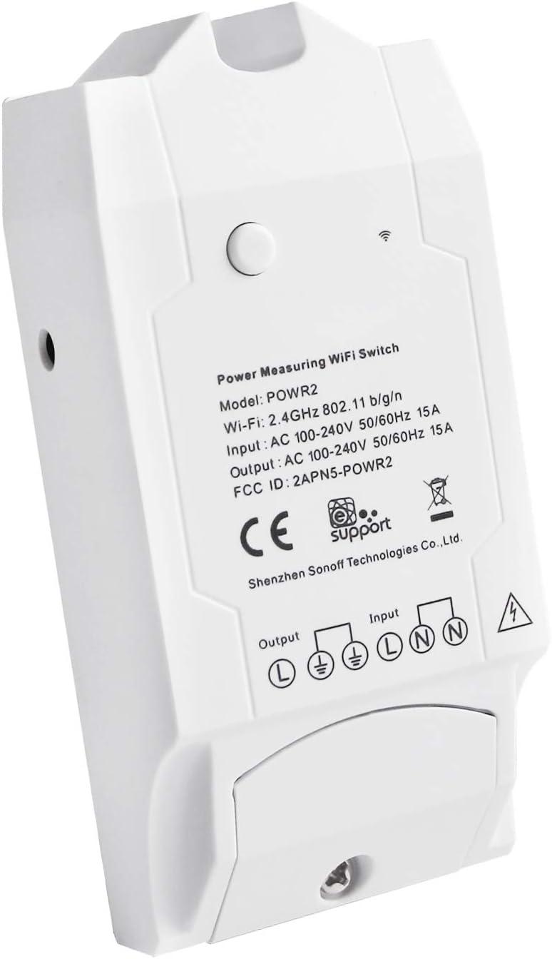 POW R2 Interruptor de Control Remoto Inalámbrico Monitor de Alimentación Remoto wifi Inteligente (Mida de Consumo de Energía, potencia, Voltaje, Corriente) para Alexa, Google Nest