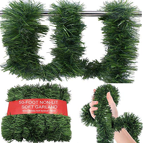 50 Foot Soft Green Garland for Christmas Decorations - Non-Lit Soft Green Holiday Decor for Outdoor or Indoor Use - Premium Quality Home Garden Artificial Greenery or Wedding Party Decorations.