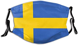 BYJHMB Sweden-flag-simple-vector-1312252088 Cotton Washable Nose Wired Face Cover Filter Pocket Wide Cover with Filter