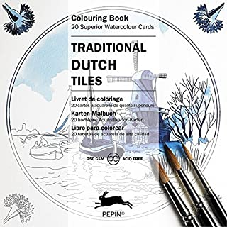 Traditional Dutch Tiles (Colouring Cards) (English, Spanish, French, Italian and German Edition)