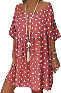GAGA Women Floral Mini Short Sleeve Casual Crew Neck T Shirt Dresses 2 S