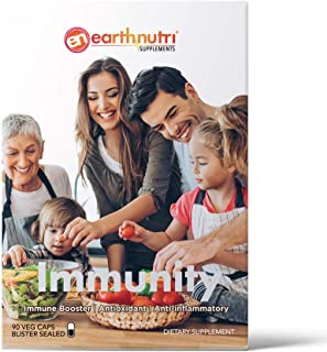 EarthNutri Immunity Vitamins 8 in 1 Immune Booster - Vitamin C, D, Zinc, Beta Glucan, Turmeric, Echinacea, Elderberry & Pr...