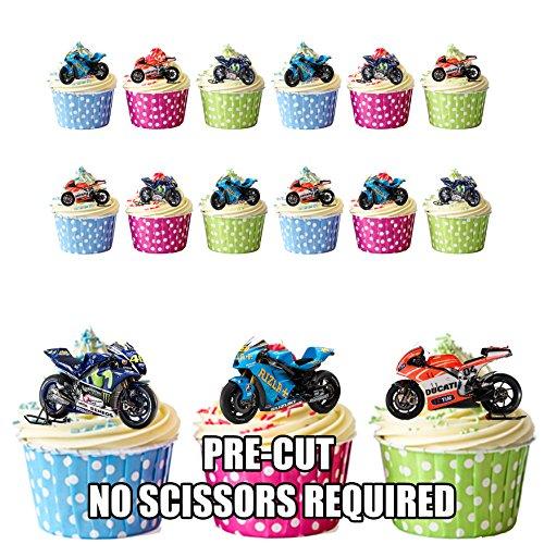 Moto GP Motorbikes Ducati Suzuki Yamaha mix–commestibile topper per cupcake/decorazioni per torte (confezione da 12)
