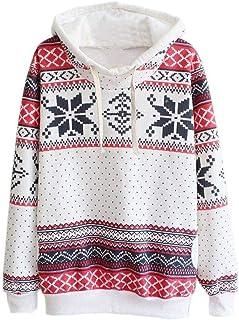 Women Sweatshirt Oversized Hoodies Christmas Festival Hooded Long Sleeve Autumn Winter Warm Jumper Pullover