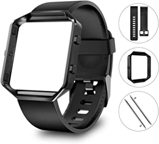 Large Replacement Strap Bands & Frame Compatible for Fitbit Blaze Smart Fitness Watch Sport Accessory Wristbands for Men Women Boys Girls - Black