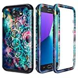 Lamcase for Samsung Galaxy J7 2017 Case (Not Fit J7 2018) J7 Prime/J7 V/J7 Perx/J7 Sky Pro/Galaxy Halo Case Shockproof Dual Layer PC & Silicone High Impact Bumper Protective Cover, Mandala/Galaxy