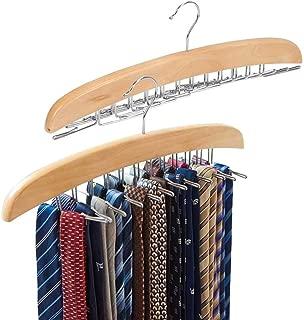EZOWare [2-Pack Tie Belt Hangers, Adjustable 24 Clip Racks Holder Hook Hanger for Closet Organizer Storage - Beige